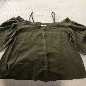 Army Green Off Shoulder Top NWT